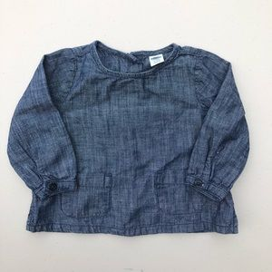 Old navy | baby girl chambray blouse top 6-12M